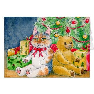 Cat, Teddy Bear, Christmas tree card