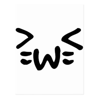 cat text emoticon face post card