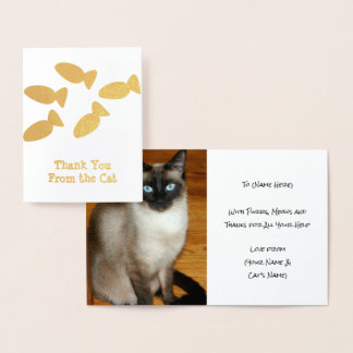 Cat Thank You - Add Kitty Photo Inside - Custom Foil Card