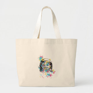 cat the astronuat large tote bag