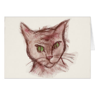 Cat-Themed Artistic Note Card