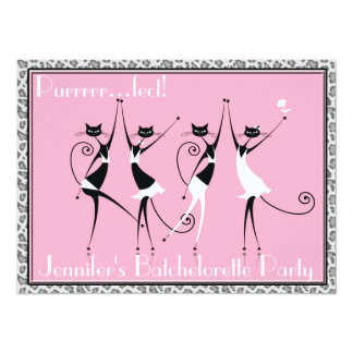 "cat themed batchelorette party invitations 5.5"" x 7.5"" invitation card"