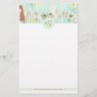 Cat Themed Letter Writing Stationery MONOGRAMMED