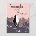 Cute Cats In The City Wedding Save The Date Card