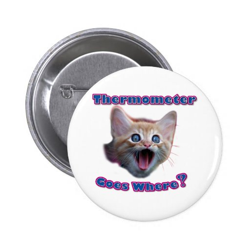 Cat Thermometer 2 Inch Round Button