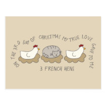 Cat Third Day 3 French Hens Christmas Postcard