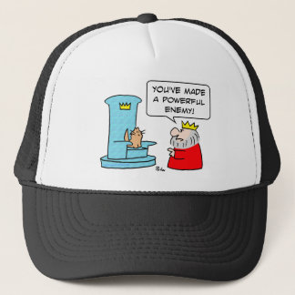 cat throne king powerful enemy trucker hat