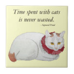 "Cat Time Gift Tile<br><div class=""desc"">Austrian psychiatrist Sigmund Freud (1856 - 1939), the founding father of psychoanalysis, loved cats, as this wonderful quote on a tile testifies: &#39;Time spent with cats is never wasted.&#39; The great words are matched with an equally great painting by Japanese ukiyo-e artist Takahashi Shotei (1871 - 1944). Called &quot;Tama&quot; (white...</div>"