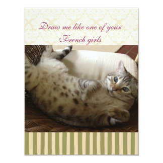 Cat Titanic Quote Brocade Stripe Notecard 4.25x5.5 Paper Invitation Card