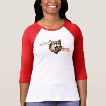 Cat Tongue Out Teen Girl Raglan Red Rocks Funny T-Shirt