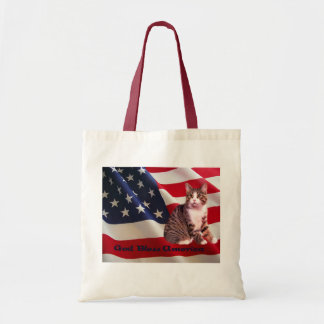 Cat Tote Bag God Bless America
