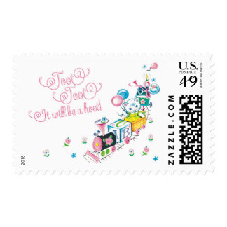 Cat train invitations matching stamps