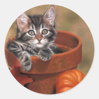 Cat Transfer Classic Round Sticker