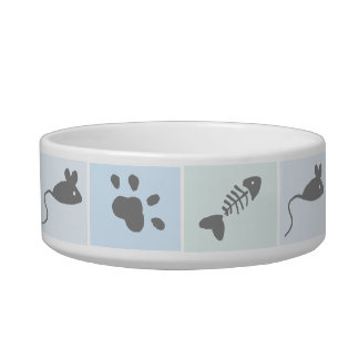 Cat Treats and Paws Tile Effect Pet Food Bowl