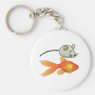Cat Treats (Mice and Fish) Basic Round Button Keychain