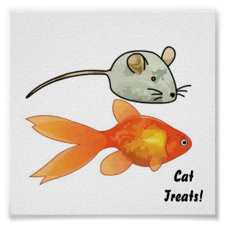 Cat Treats (Mice and Fish) Poster