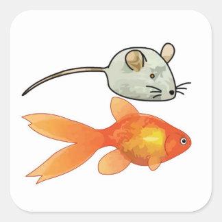 Cat Treats (Mice and Fish) Square Sticker