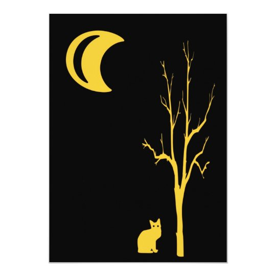 Cat, Tree and Moon Halloween Card