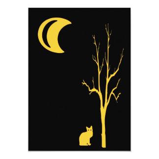 Cat, Tree and Moon Halloween 5x7 Paper Invitation Card