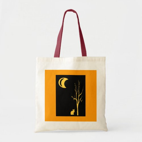 Cat, Tree and Moon Halloween Tote Bag