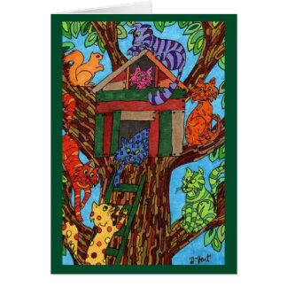 Cat Tree House Card