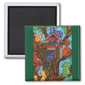 Cat Tree House Fridge Magnet