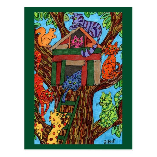 Cat Tree House Postcard
