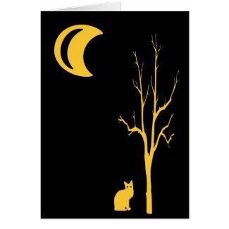 Cat,Tree & Moon Halloween Card