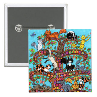 Cat Tree of Life 2 2 Inch Square Button