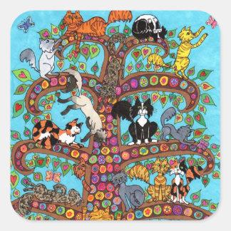 Cat Tree of Life 2 Square Sticker