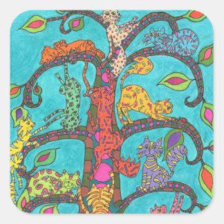Cat Tree of Life Square Sticker