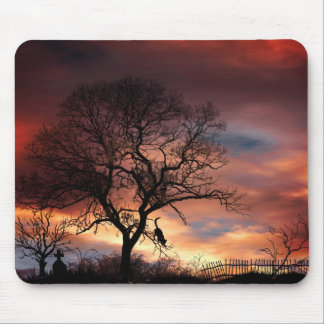 Cat & Tree Silhouette at Sunset Mouse Pad