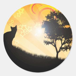 Cat Tree Classic Round Sticker