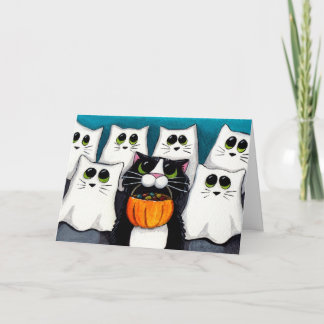 Cat Trick or Treat Halloween Card
