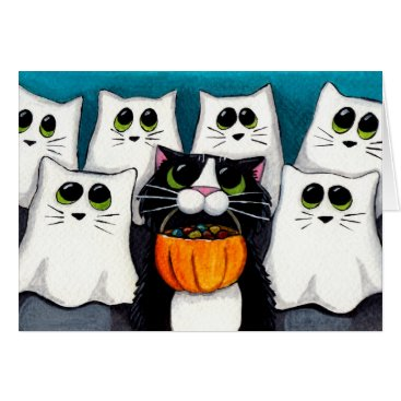 Halloween Themed Cat Trick or Treat Halloween Card
