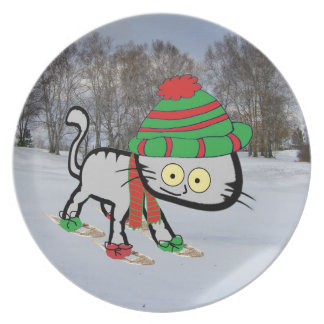Cat trying his new Snow Shoes Dinner Plate