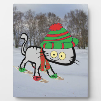 Cat trying his new Snow Shoes Plaque