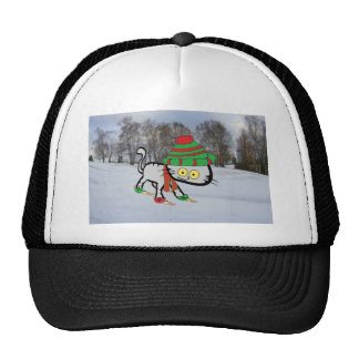 Cat trying his new Snow Shoes Trucker Hat
