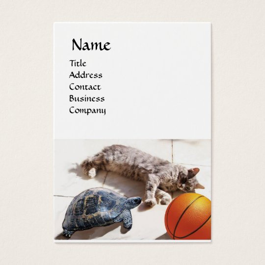 CAT ,TURTLE  AND BASKETBALL BUSINESS CARD