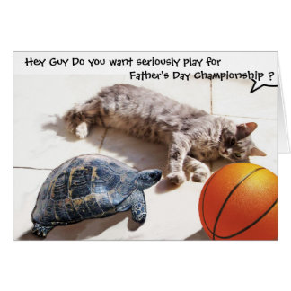 CAT ,TURTLE  AND BASKETBALL Father's Day Card