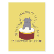 Cat Twelfth Day 12 Drummers Drumming Christmas Postcard