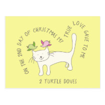 Cat Two Turtle Doves Christmas Postcard
