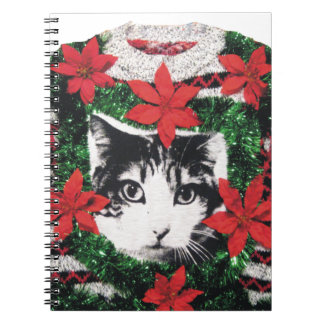 Cat Ugly Christmas Sweater Notebook