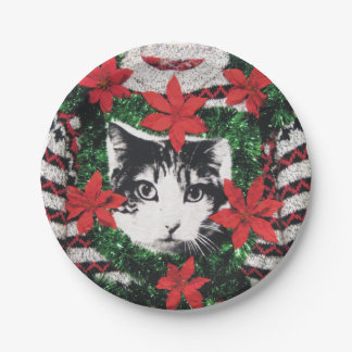 Cat Ugly Christmas Sweater Party Paper Plate