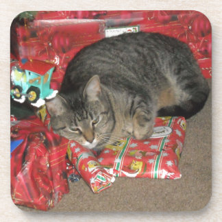 Cat Under Christmas Tree Drink Coaster