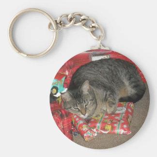 Cat Under Christmas Tree Keychain
