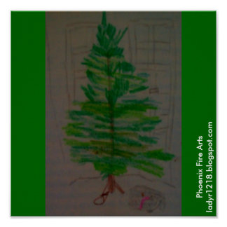 Cat under Christmas Tree Poster