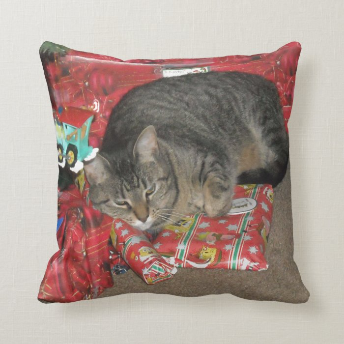 Cat Under Christmas Tree Throw Pillow Zazzle