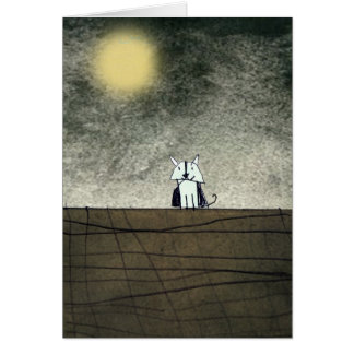 Cat under the moon greeting cards