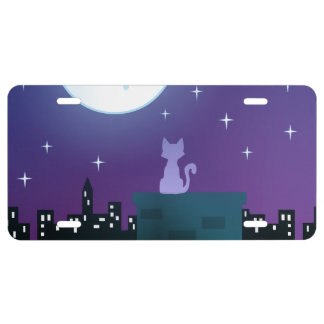Cat Under The Moonlight License Plate